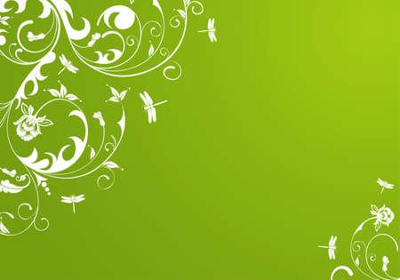 dragonfly art: Flower background with dragonfly, element for design,  illustration Illustration
