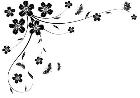 element for design: Floral background with butterfly, element for design, illustration