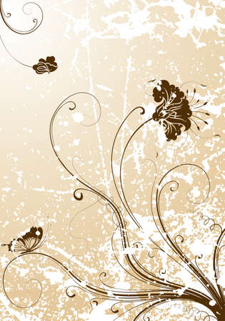 Grunge flower background with butterfly, element for design,  illustration Stock Vector - 6968481