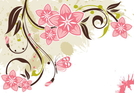 Grunge floral background with butterfly, element for design, illustration
