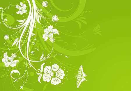 Flower background with butterfly, element for design,  illustration Vector