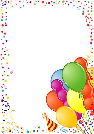 Marco de cumpleaños con globo, Streamer y sombrero de partido, elemento de diseño, ilustración