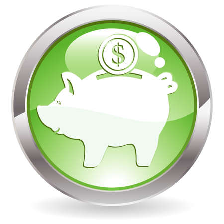 coin box: Three Dimensional circle button with piggy bank icon, illustration Illustration