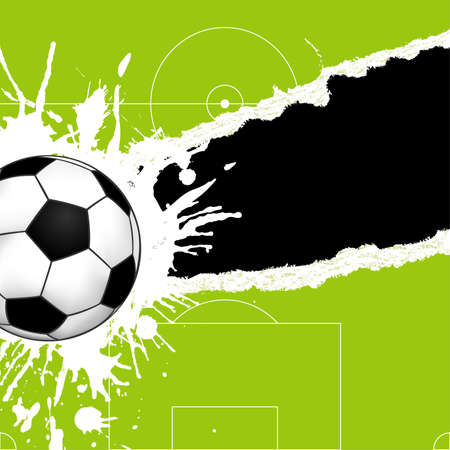 Soccer ball on green torn paper with hole, element for design,   illustration Vector