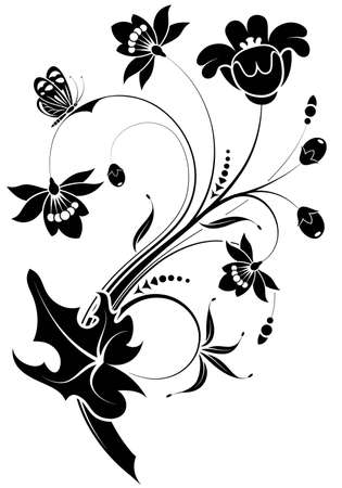 Floral ornament with butterfly, element for design,   illustration