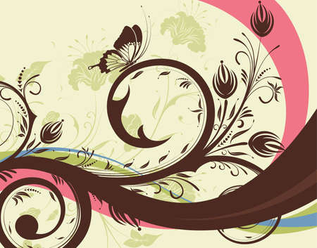Flower background with wave pattern, element for design,  illustration Vector