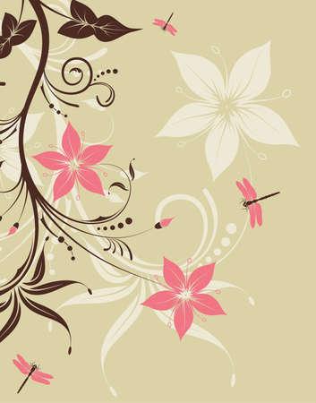 Floral Background with dragonfly, element for design illustration Vector
