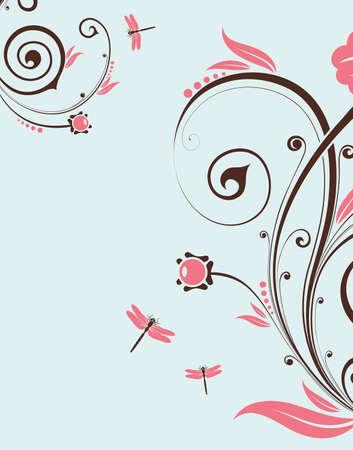 Floral Background with dragonfly, element for design,  illustration Vector