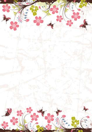 蝶、デザイン、イラストの要素とグランジ花のフレーム