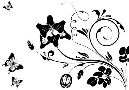 orchids: Floral ornament with butterfly, element for design, illustration Illustration