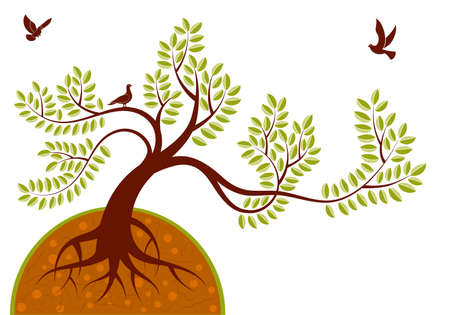 �rboles con pajaros: Fondo con el �rbol y ave, elemento de dise�o, ilustraci�n  Vectores