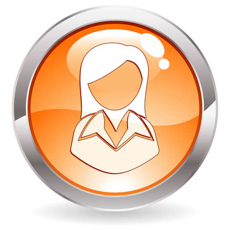 Three Dimensional circle button with Business Woman icon,  illustration Stock Vector - 7618822