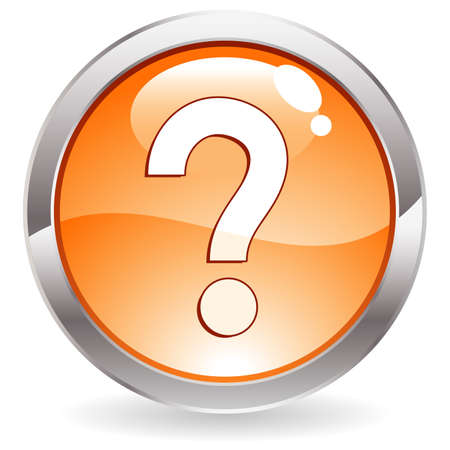question icon: Three Dimensional circle button with question mark icon,  illustration