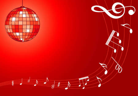 Music background with disco ball and note pattern, element for design,   illustration Vector