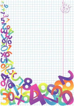 mathematical: Abstract colorful numeric template, element, for design,   illustration Illustration