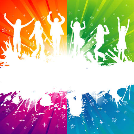 Plantilla de grupo de grunge con baile silueta, elemento de diseño, ilustración