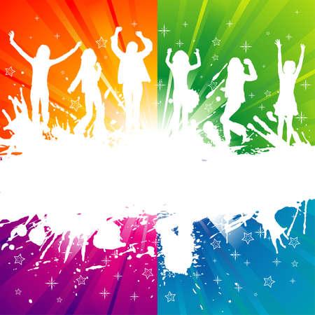 mujer feliz fondo blanco: Plantilla de grupo de grunge con baile silueta, elemento de dise�o, ilustraci�n