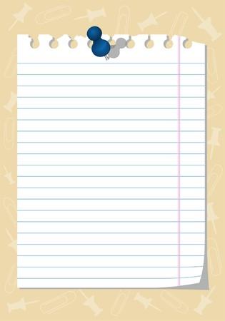 notebook paper: Torn notebook paper with thumbtack, element for design,   illustration Illustration