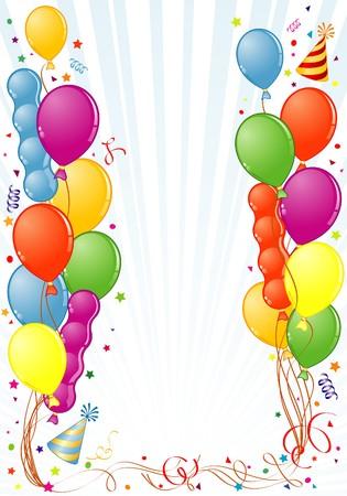 Marco de cumpleaños con globo, streamer y sombrero de partido, elemento de diseño, ilustración  Ilustración de vector