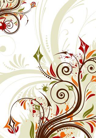 Grunge floral background with leaf, element for design,  illustration Stock Vector - 8021629