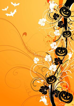 Abstract halloween background with bats and pumpkin,  illustration Vector