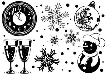 Collect Christmas element with bauble, clock, glass, snowman, element for design  illustration Vector
