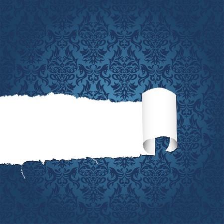 Torn floral decorative paper with hole, element for design,  illustration Vector