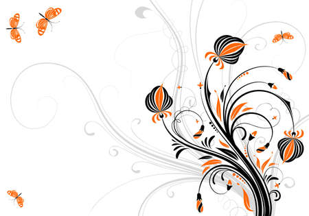 Floral background with butterfly, element for design,  illustration Illustration