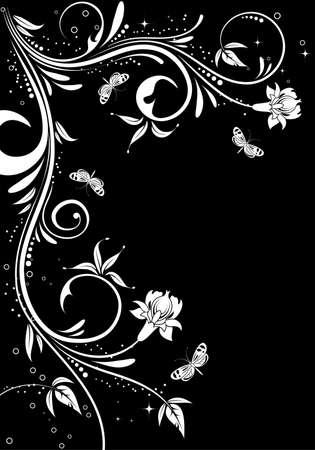 Grunge floral frame with butterfly, element for design,  illustration Vector