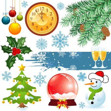 Big set elements for Christmas design  illustration Vector