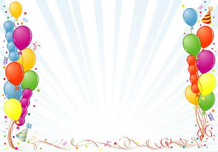 anniversary party: Compleanno frame con palloncino, streamer e parte Hat, elemento di design, illustrazione  Vettoriali