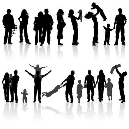mums: Siluetas de mujer, hombre, ni�os, familia, ilustraci�n  Vectores