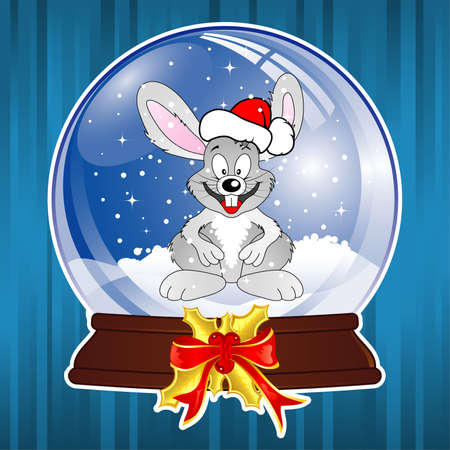 Christmas Background with snow globe and rabbit  Vector