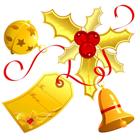 Christmas theme with mistletoe, bell, element for design  Stock Vector - 8346293