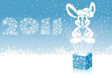 Christmas background with rabbit, element for design Vector