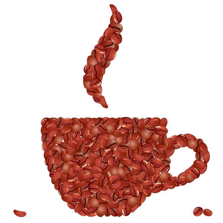 coffeecup: Cup of coffee from grains  Illustration
