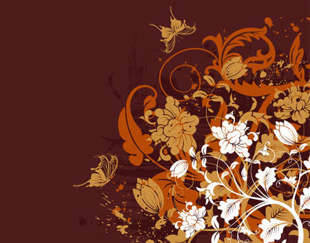 element for design: Grunge floral background with butterfly, element for design