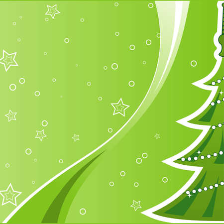 Christmas background with tree and star, element for design  Vector