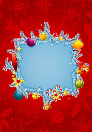 Christmas frame with branch fir, element for design Stock Vector - 8346355