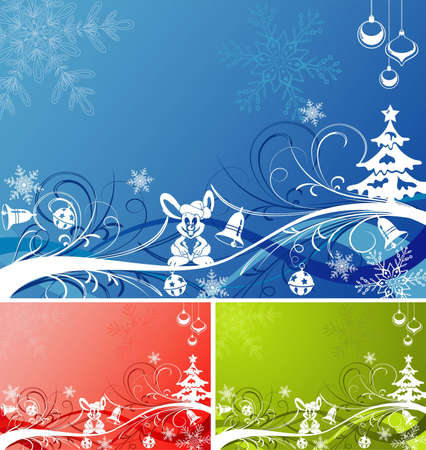 Three Christmas background with tree, rabbit and wave pattern in various colors Stock Vector - 8346350