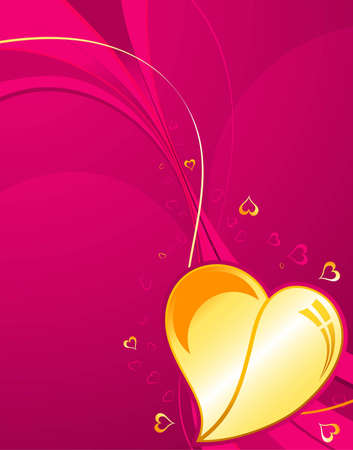 Valentines Day background with Hearts and wave pattern, element for design, vector illustration Vector