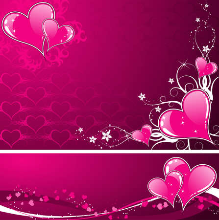 Valentines Day background with Hearts, florals and wave, element for design, vector illustration Vector