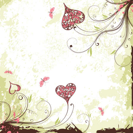 Valentines Day grunge background with Hearts, flowers and butterfly, element for design,  illustration Illustration