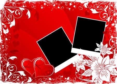 grunge photo frame: Giorno di San Valentino sfondo con cuori, fiori e cornice vuota, elemento di design illustrazione Vettoriali