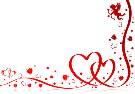 valentines card: Valentines day theme with heart, ribbon and Cupid, element for design,   illustration