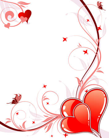 Valentines Day background with Hearts, floral and wave, element for design,  illustration