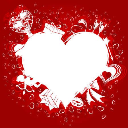 Valentines Day background with Hearts, Cupid and holiday element for design,  illustration Vector