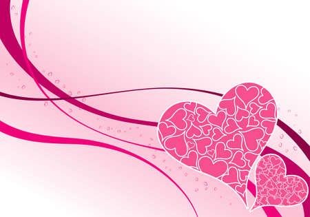 valentine's day: Valentines Day background with puzzle hearts and wave pattern, element for design,  illustration