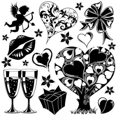 Valentino insieme con i cuori, elemento di design, illustrazione