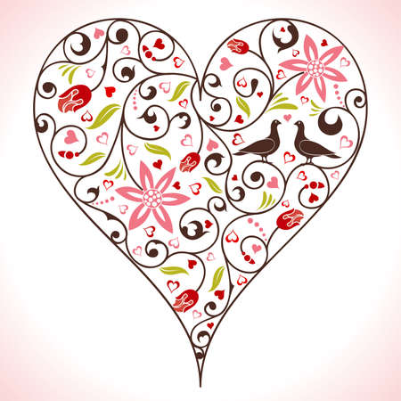 Valentines Day heart with flower and birds, element for design, vector illustration Vector